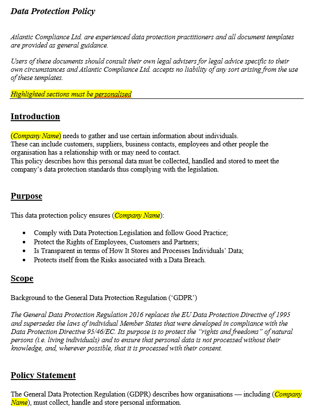 Data Protection Policy Template Ireland